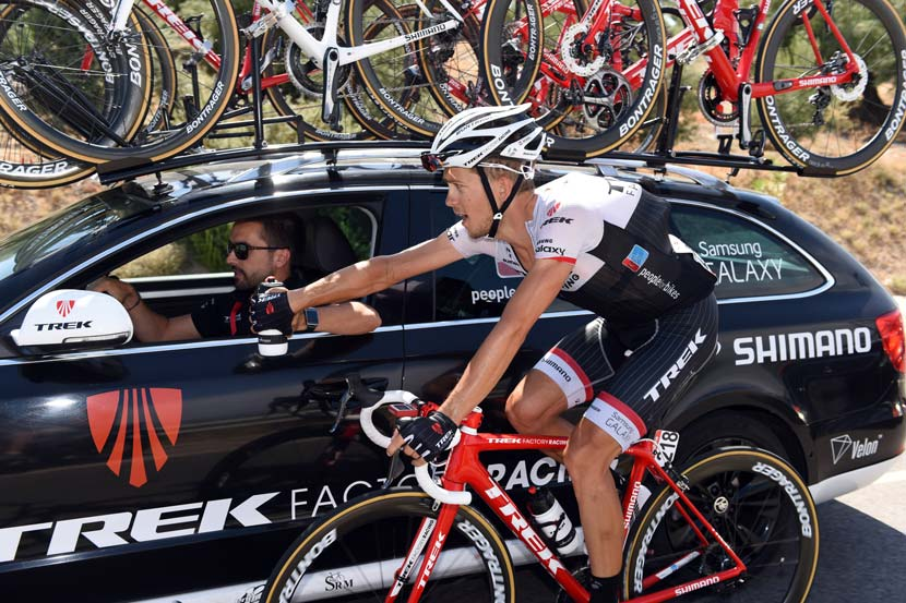 One of Irizar's disc brake bikes sits atop the Trek Factory Racing team car in stage six... Photo: Graham Watson