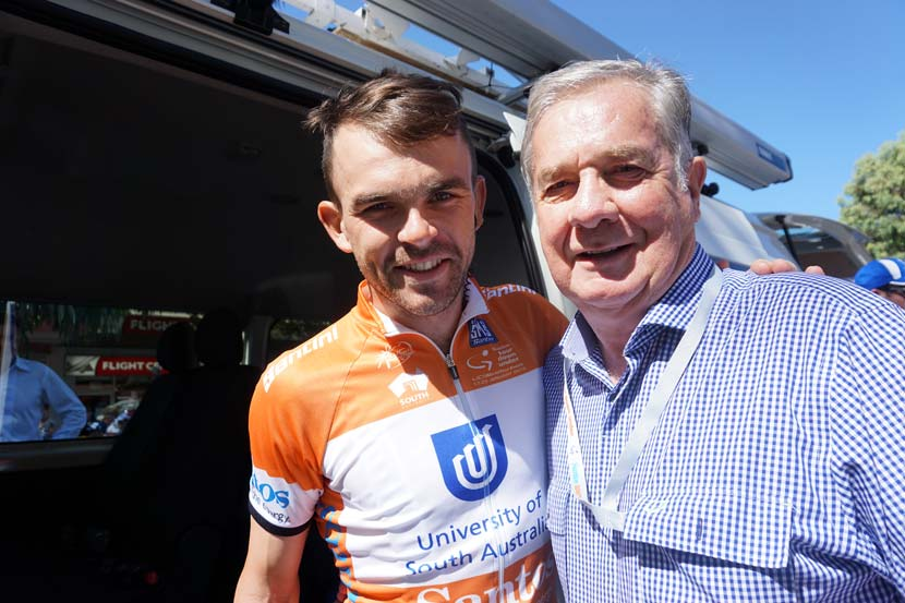 Bobridge in January 2015, as leader of the Tour Down Under, before stage four with Gerry Ryan.  Photo: Rob Arnold