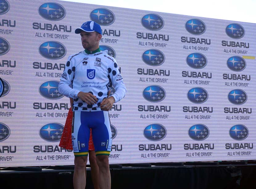 Bobridge: King of the Mountains at the Tour Down Under. After a season in Australia competing in the Subaru National Road Series, he's back to the WorldTour in 2016. Photo: Rob Arnold