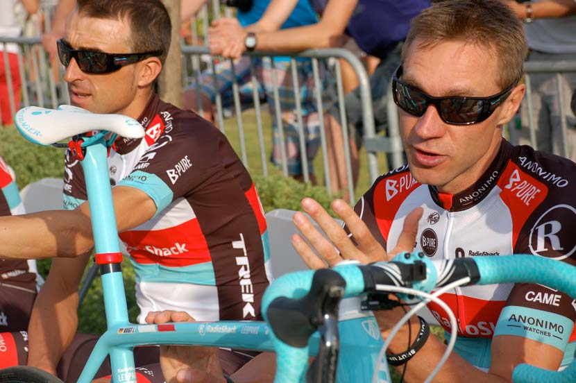 Haimar Zubeldia and Jens Voigt before the team presentation of the 100th Tour de France in 2013. Photo: Rob Arnold