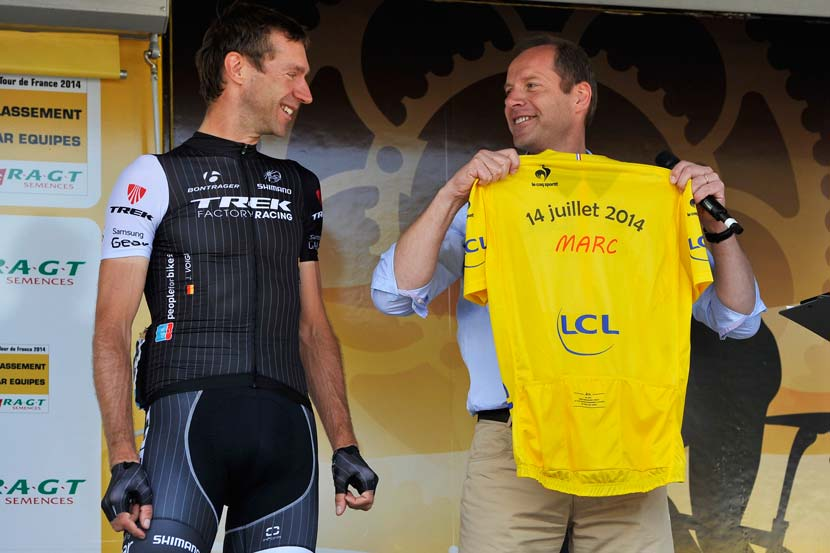 Voigt received a collection of special-issue yellow jerseys on 14 July 2014, one for each of his six children during what would be his final appearance in the Tour de France. Photo: Graham Watson