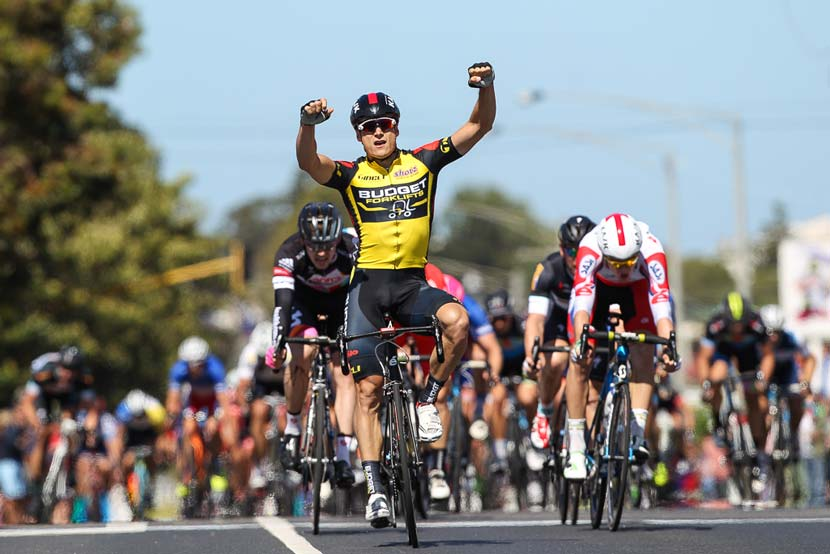 Scott Sunderland celebrates victory in the 100th Melbourne to Warrnambool.  Photo: Con Cronis