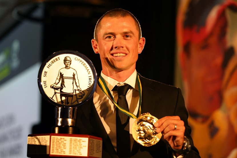 Simon Gerrans, the 2014 Australian Cyclist of the Year. Like many riders who you'd immediate consider for a place on the Hall of Fame, Gerrans is not eligible this year – as there's a rule that stipulates a rider must be retired from elite competition for two years or more... Photo: John Veage