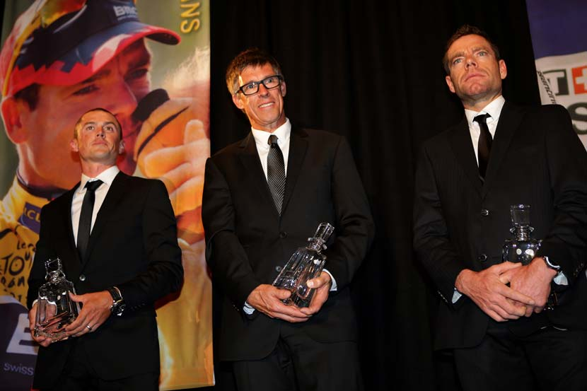 Simon Gerrans, Phil Anderson and Cadel Evans... one is eligible for the Hall of Fame and Anderson is an obvious choice. Photo: John Veage