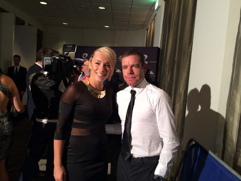 Caroline Buchanan and Cadel Evans... at the Cyclist of the Year Awards in 2014. Photo: Rob Arnold