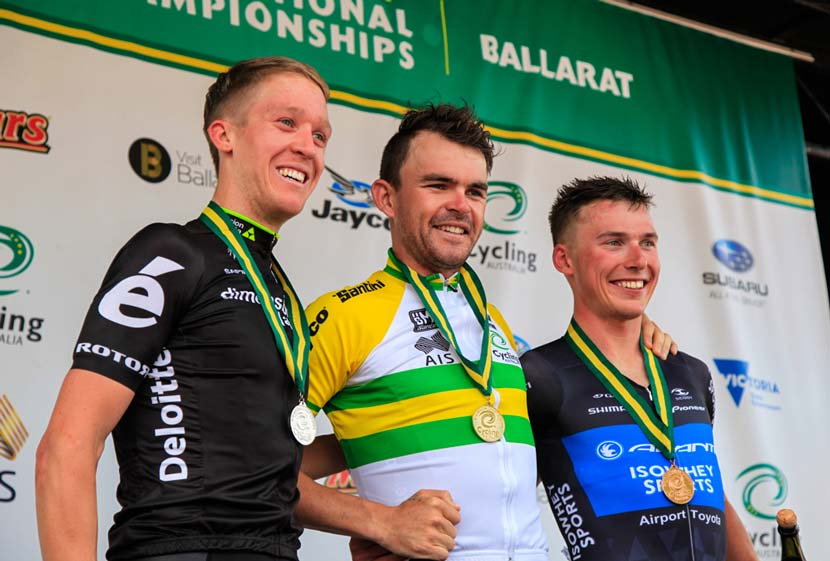 Cameron Meyer, Jack Bobridge and Pat Lane. The podium.  Australian national championships – elite men's road race. Photo: Jarrod Partridge
