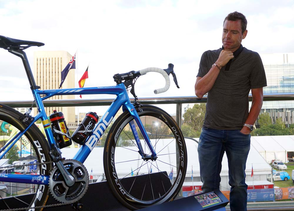 Cadel Evans in January 2015 when he was presented with the bike that he would use for his final race as a professional...