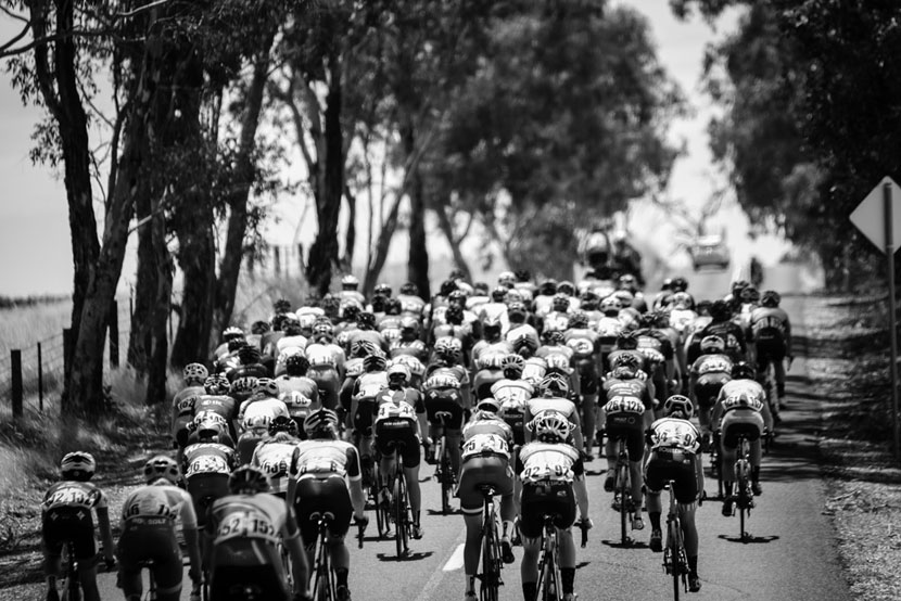 The peloton at Mount Torrens...