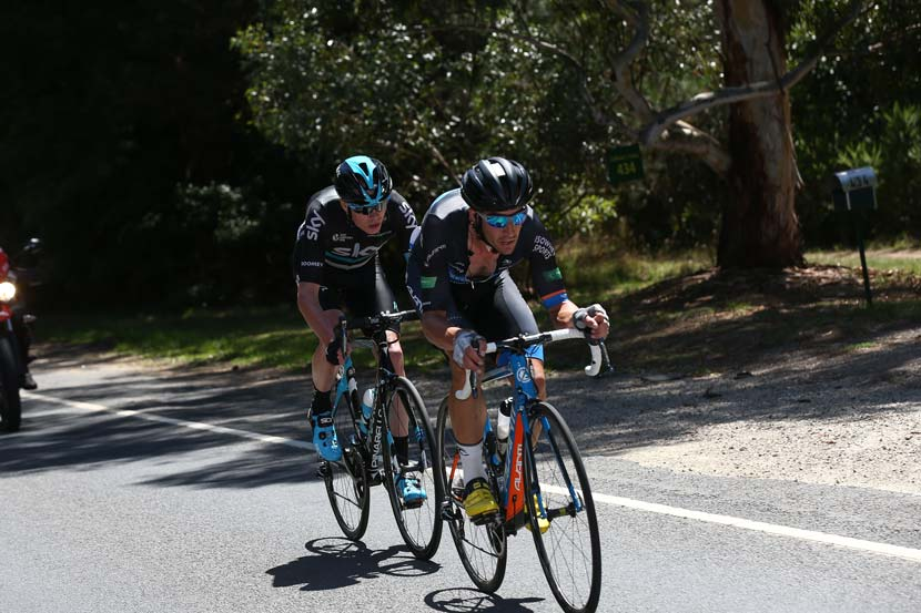 Joe Cooper ahead of Chris Froome in the final stage of the Jayco-Herald Sun Tour. Photo: Con Chronis