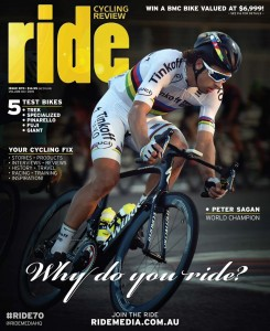 RIDE 70 (volume 4 of 2015). Featuring five bike tests: Trek Madone 9.9, Specialized Venge ViAS, the Pinarello Dogma F8, Fuji SL1.1 and Giant Defy...