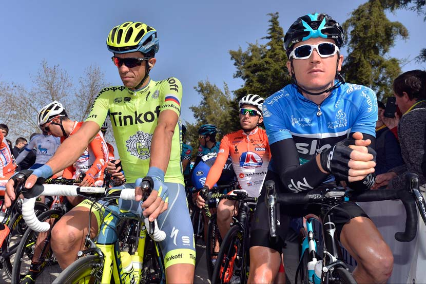 Alberto Contador and Geraint Thomas before the final stage of the Volta ao Algarve – the Spaniard would win the final stage while the Welshman took the overall title for a second successive year. Photo: Graham Watson