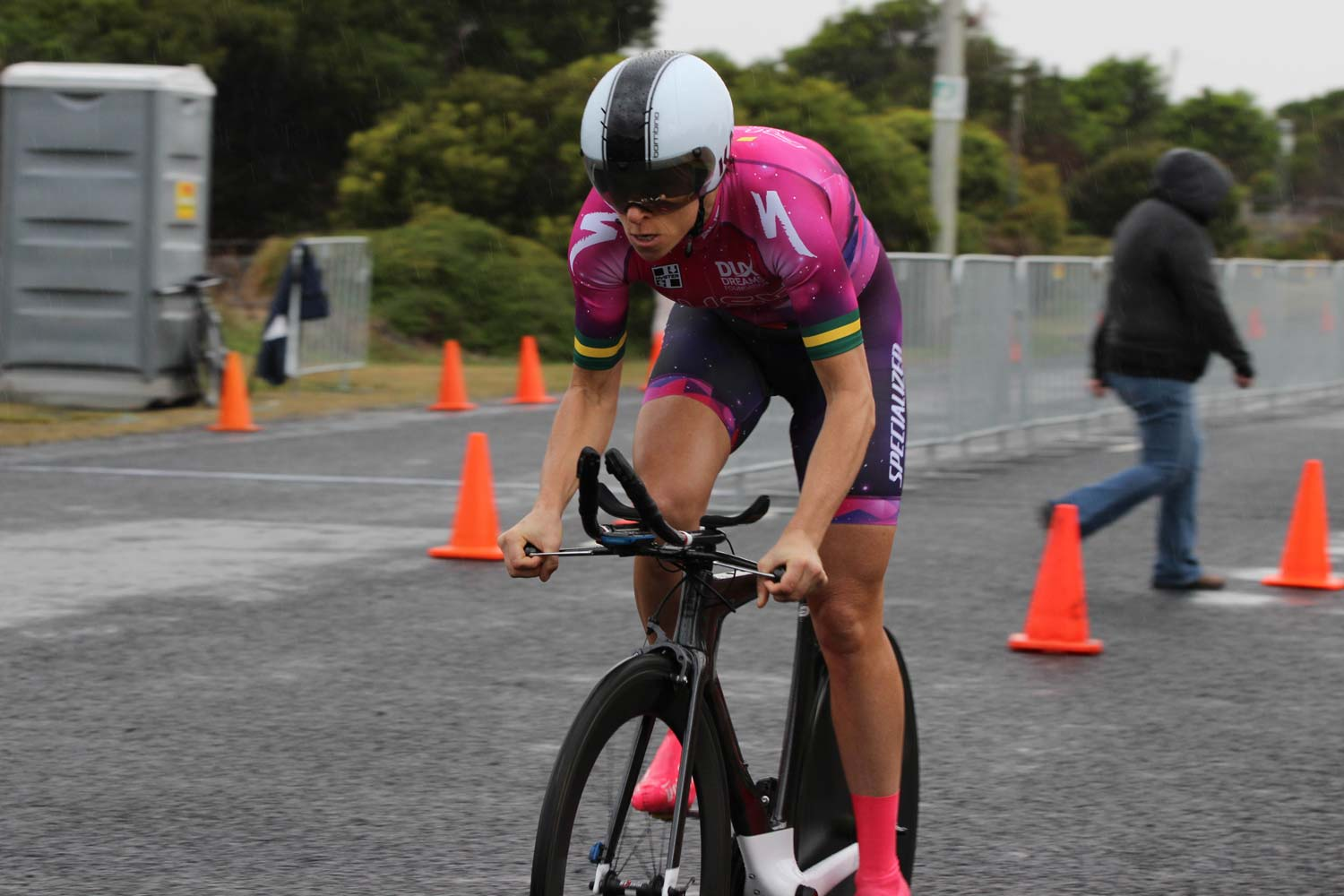 Victory on her 42nd birthday: Bridie O'Donnell –first in the opening stage of the Mersey Valley Tour. Photo: Caitlin Johnston (Cycling Australia)