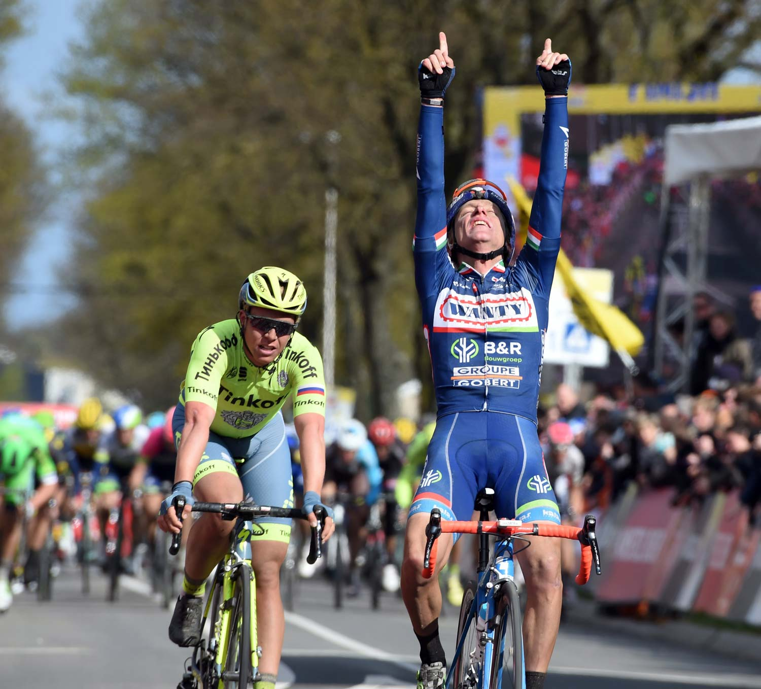 Enrico Gasparotto delivers the win that Wanty-Groupe Gobert so desperately needed. This was one for Antoine! Photo: Graham Watson