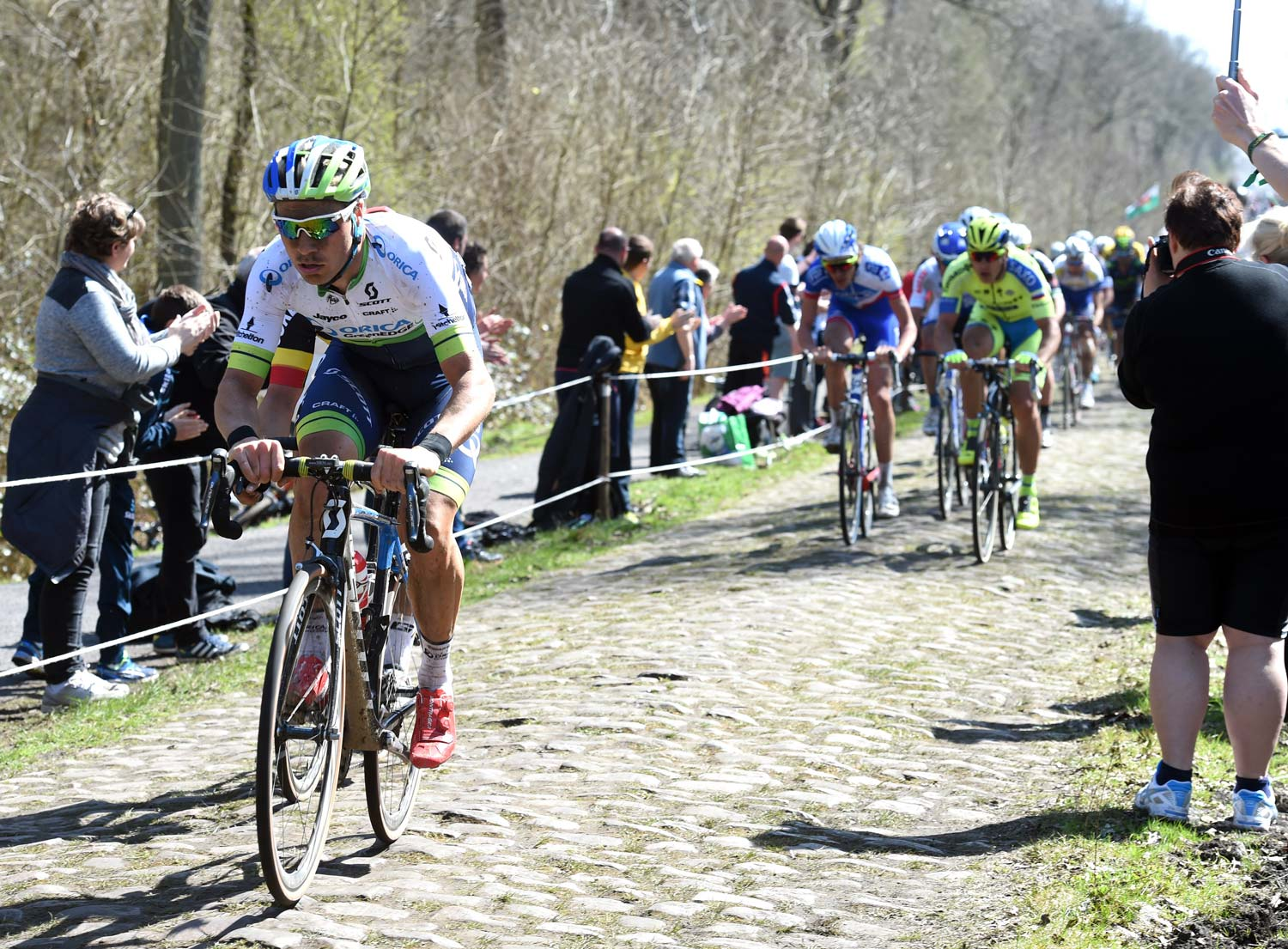 Mitch Docker on the pavé of the Arenberg Forest during Paris-Roubaix in 2015... Photo: Graham Watson
