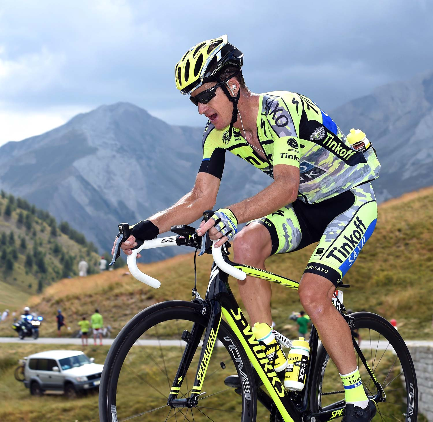 Rogers climbs a col in stage 17 of the 2015 Tour de France. Photo: Graham Watson