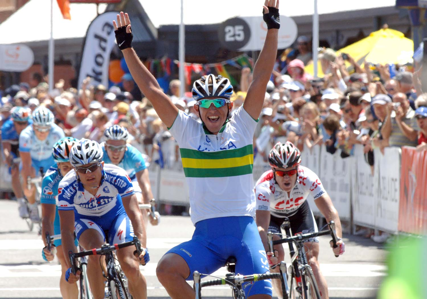 Allan Davis contested every Tour Down Under from when he was an 18-year-old in 1999 through to 2009 when he won the title. Here he wins a stage in 2008 as part of the composite UniSA team. Photo: Graham Watson