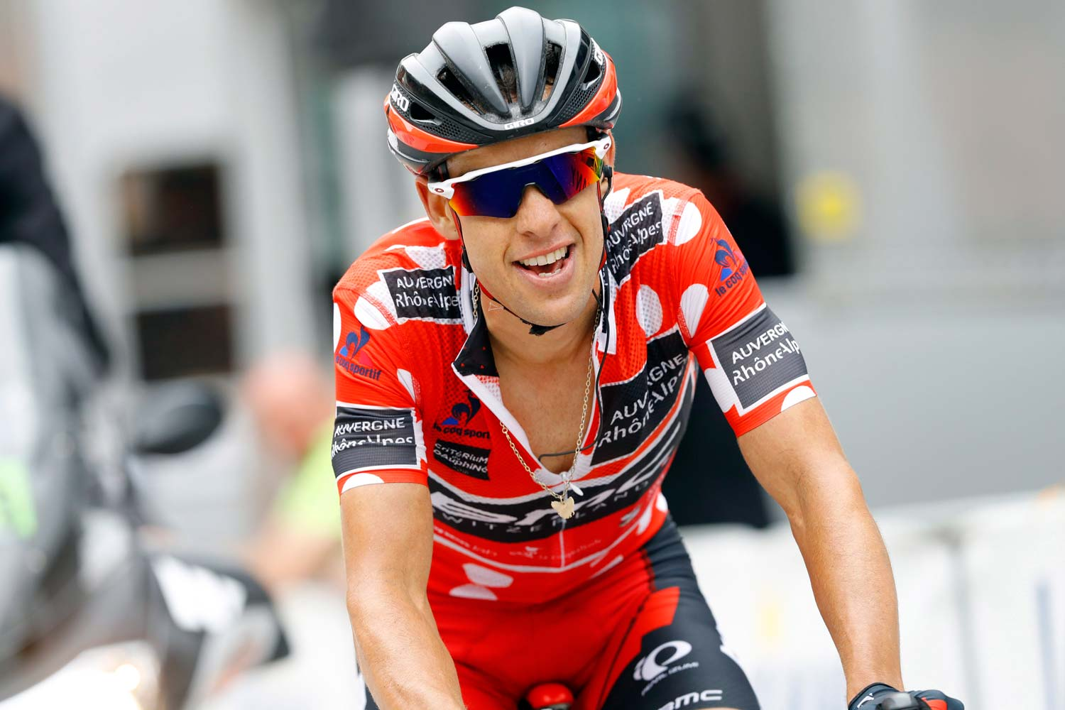 Porte wore the polka-dot jersey at the mid-way mark of the Dauphiné. Photo: Graham Watson