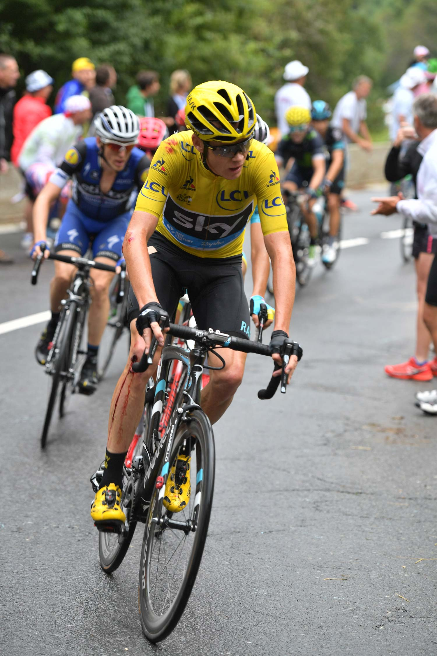 Even the race leader crashed heavily in stage 19 – but he quickly took a bike from team-mate Geraint Thomas and made it to the finish safely. Photo: Graham Watson