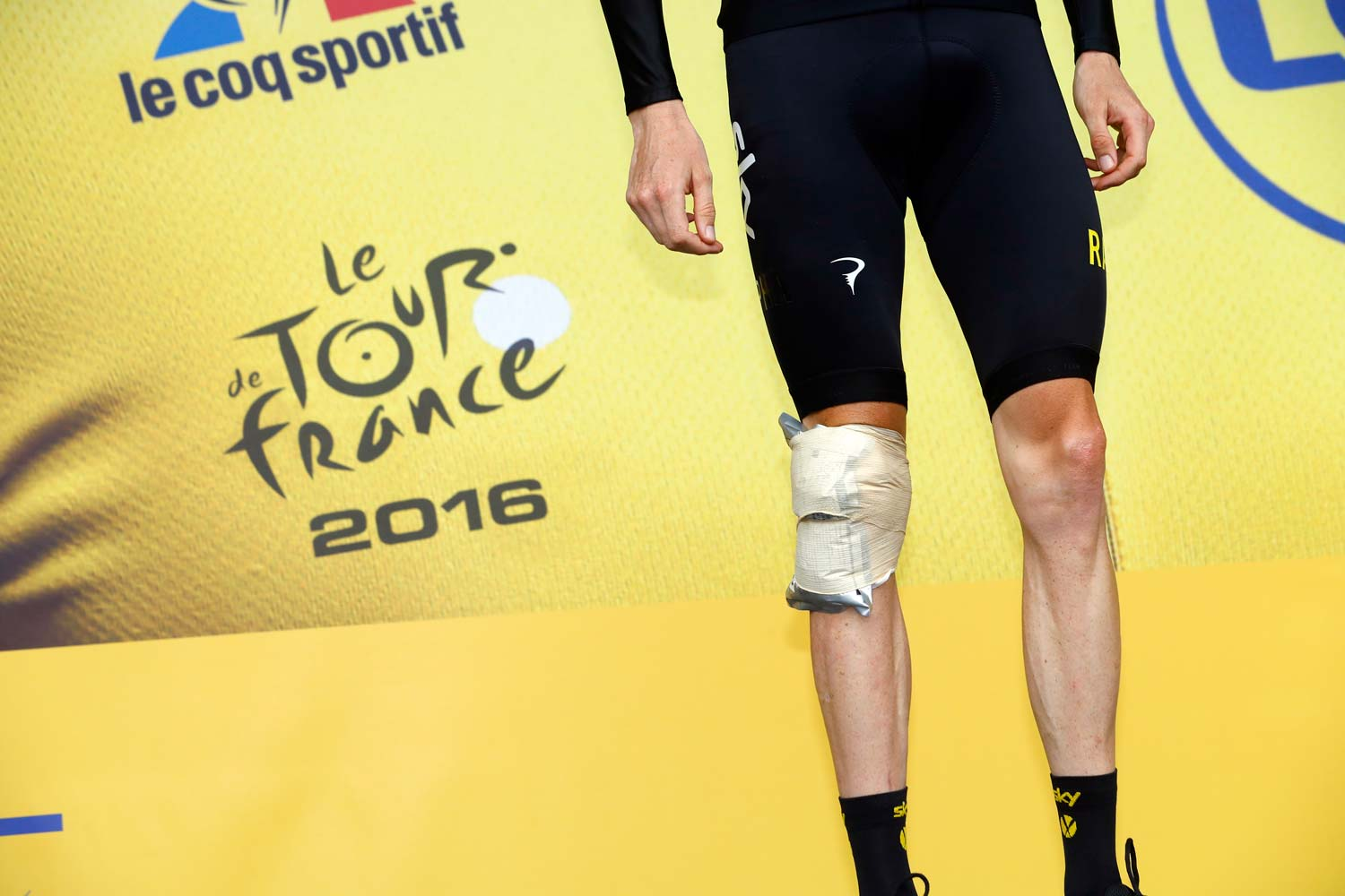 Wounded but walking... Chris Froome had a scare with a crash in stage 19 but he retains a solid lead on GC. Photo: Graham Watson