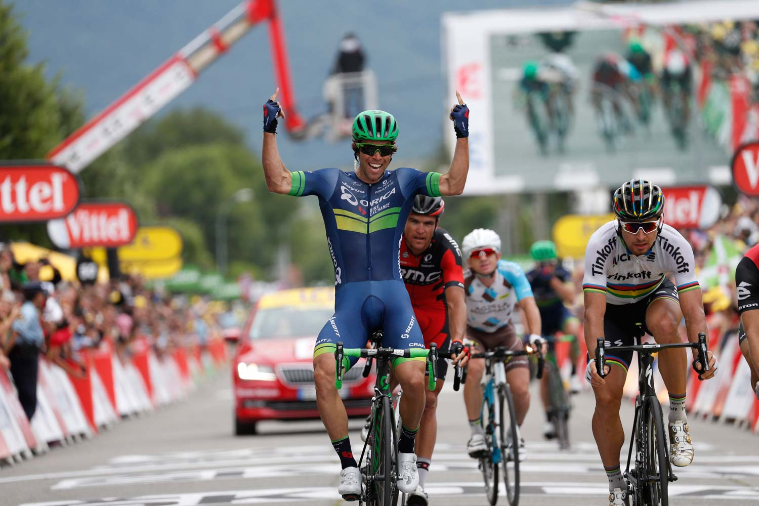 Mission accomplished: stage winner in Revel – Michael Matthews, ahead of Peter Sagan. Photo: Yuzuru Sunada