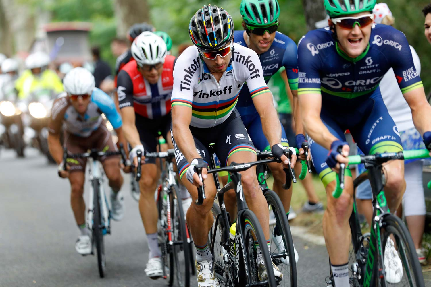 Durbridge on the front while Matthews keeps a close eye on Sagan... Photo: Graham Watson