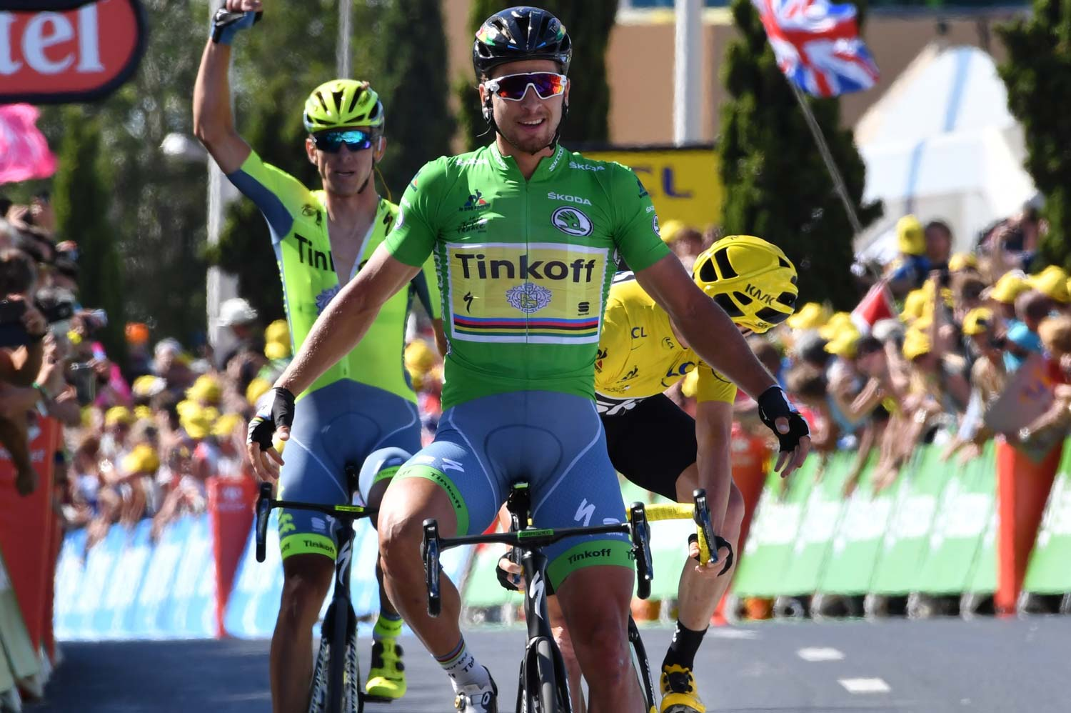 The green jersey ahead of the yellow jersey... Sagan and Froome at the finish of stage 11 in Montpellier. Photo: Graham Watson