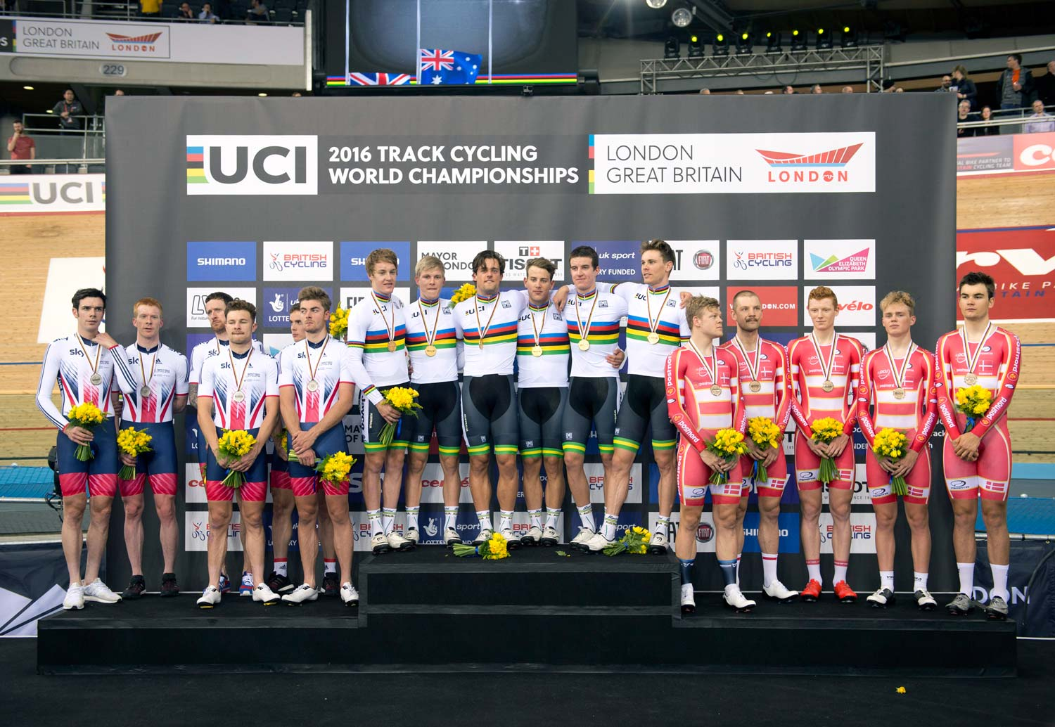 Silver and gold... Great Britain and Australia on the podium at the world championships earlier this year. Photo: Graham Watson