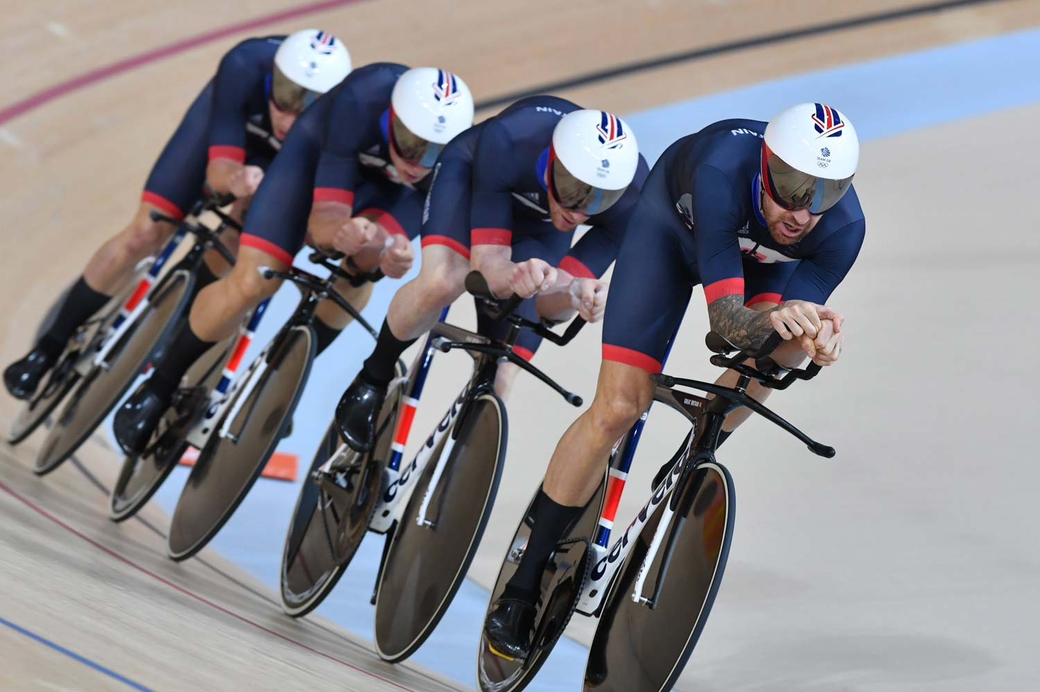 Bradley Wiggins on the front during what became the second fastest team pursuit ever ridden. Photo: Graham Watson