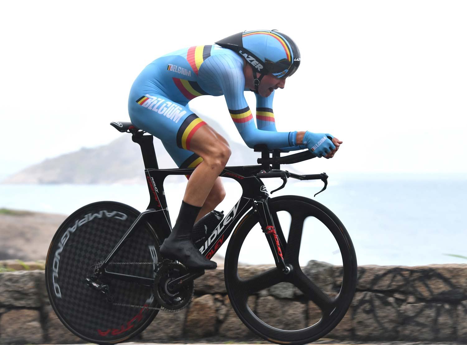 Tim Wellens was in the first wave of starters in the Olympic TT. Lazer helmets have created some innovative new shapes and we can expect to see new products on the track but the roadies are using designs seen before the Rio Games. Photo: Graham Watson