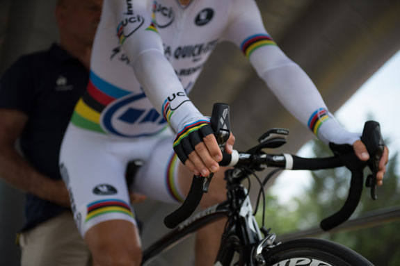 The world TT champion Tony Martin prepares for take off in stage 17 of the 2013 Tour de France... a time trial on a road bike with hydraulic rim brakes. Will the new UCI administration soon allow disc brakes in road race competitions? That ruling on equipment, like many other things, is under review. Photo: Veeral Patel