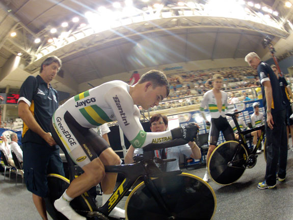 UCI commissaire Karen O'Callaghan measures the pursuit bike of Jack Bobridge at the 2012 world championships in Melbourne.  Photo: Rob Arnold