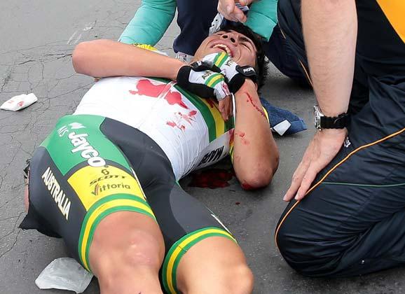Caleb Ewan on the Flanders crash