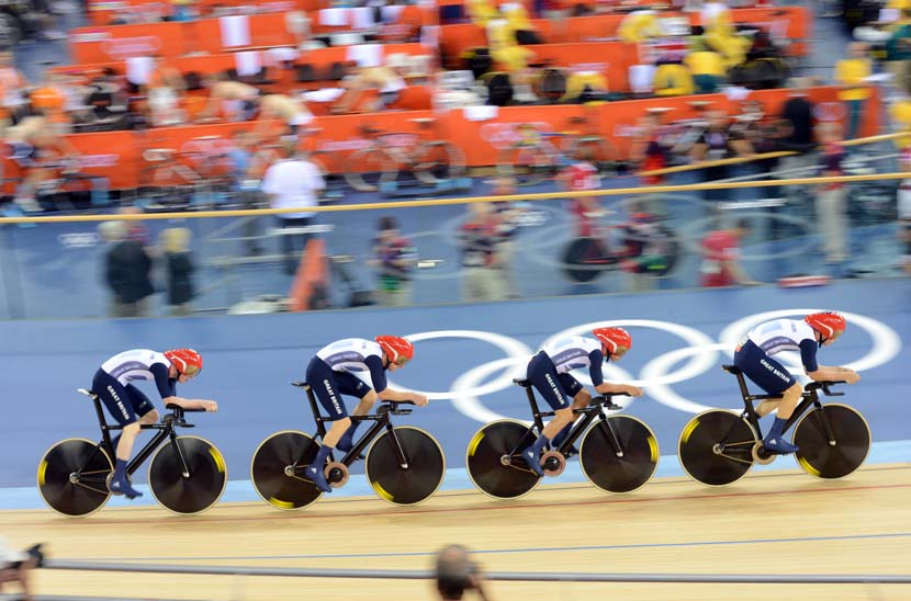 Record-breaking bikes... and a gold medal winning team pursuit. Team GB on its way to victory at the London Olympics. Photo: Graham Watson