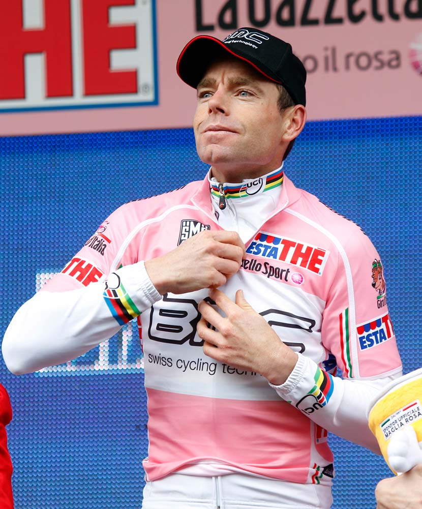 After stage two of the 2010 race, when Cadel Evans was doing the Giro d'Italia in the hope that he could impress the Tour de France organisers enough for them to invite his BMC team to their race as a wildcard entrant, he put on the maglia rosa for a second time in his career. Photo: Yuzuru Sunada