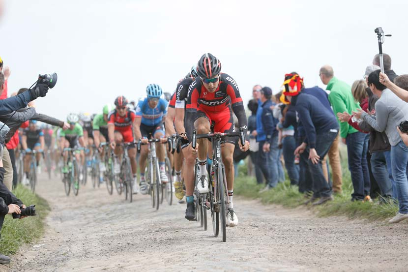 Taylor Phinney leads over a sector of pavé in Paris-Roubaix.  Photo: Yuzuru Sunada