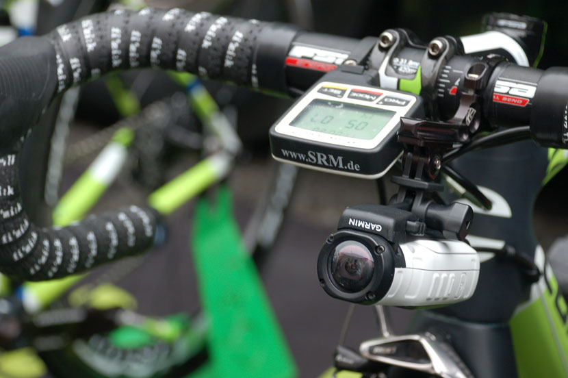 Garmin's VIRB on board one of the Cannondale team bikes for stage one of the 2014 Tour. Photo: Rob Arnold