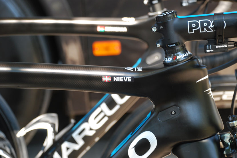 Mikel Nieve's Pinarello F8 ready for action before stage 12... Photo: Rob Arnold