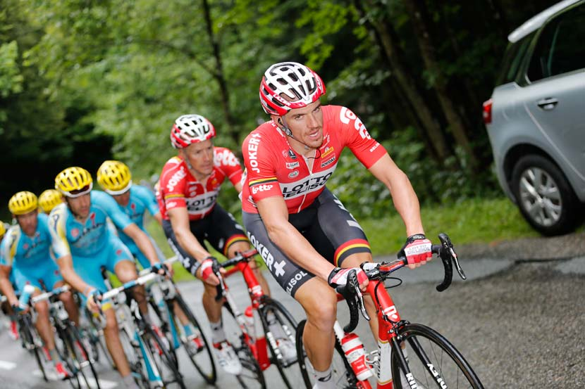 Doing his work in Le Tour of 2014... Adam Hansen at the front of the bunch. Photo: Yuzuru Sunada