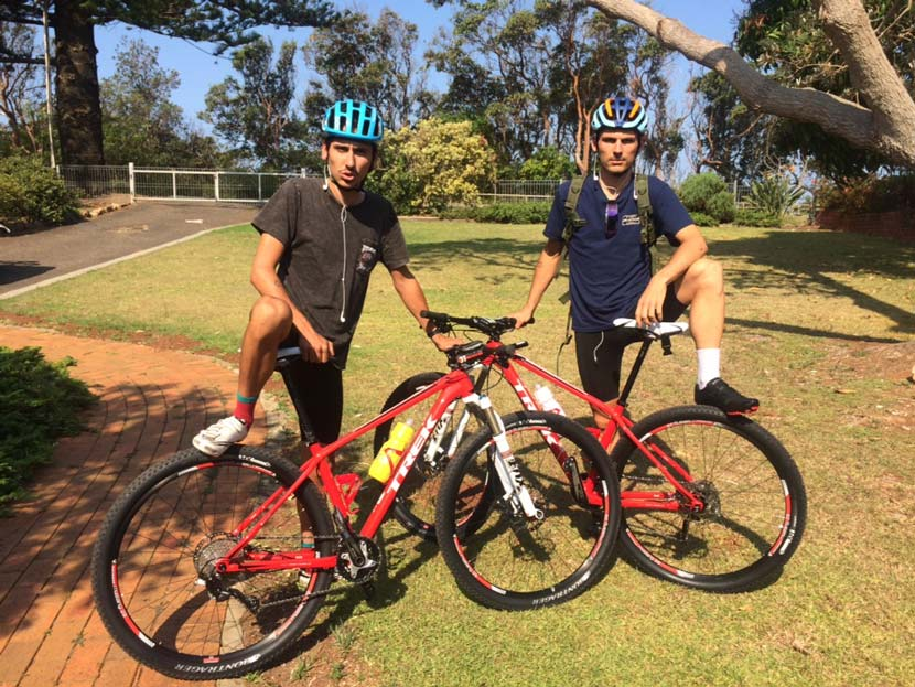 """Let the ride begin (again)... Lachlan and Angus Morton just before they set off on their first ride as senior """"team-mates""""."""