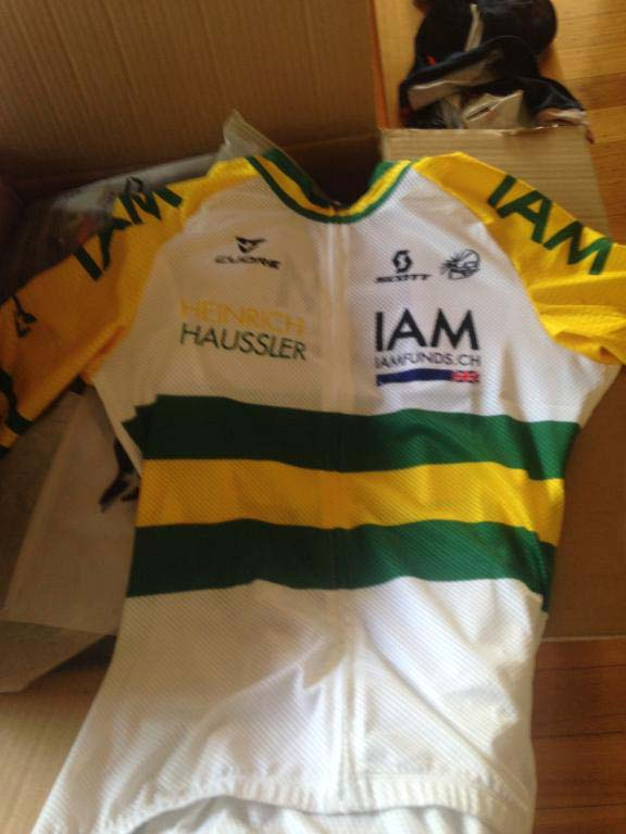 Be prepared... the IAM Cycling Team had a set of national champion's clothing made for Heinrich Haussler... just in case.
