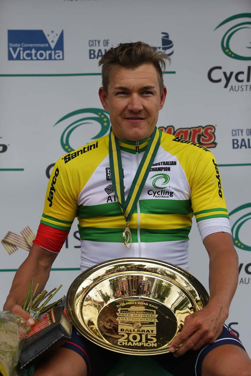 The presentation jersey for the gold medal winner: Haussler on the podium in Buninyong. Photo: Cycling Australia