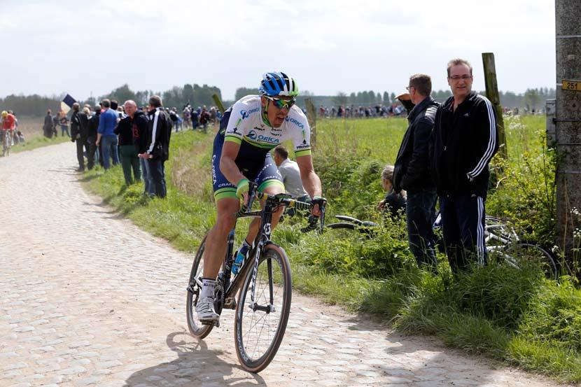 Mathew Hayman in Paris-Roubaix last year... Photo: Yuzuru Sunada