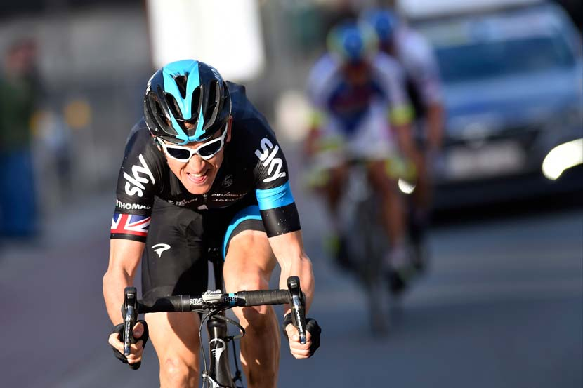 The winning move... Thomas attacks Sagan and Stybar with four kilometres to go in E3 Harelbeke. Photo: Graham Watson