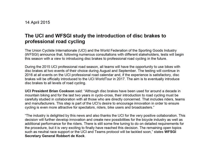 UCI-brakes