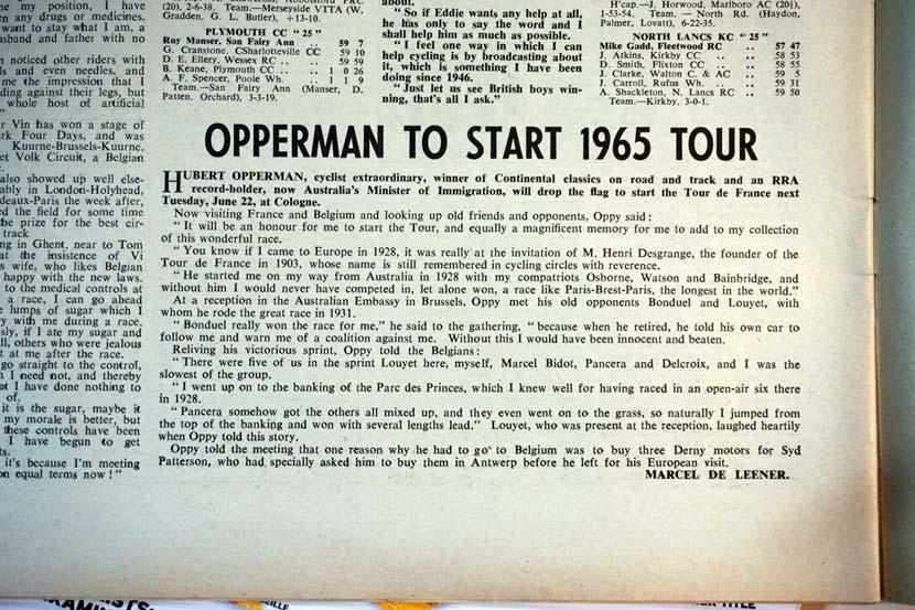 Australian political representation at the Tour de France 50 years ago...