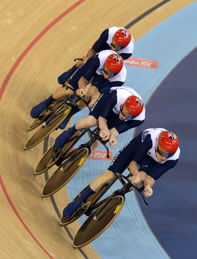 Compare and contrast... Team GB's fork versus the design on Wiggins' hour record Pinarello. Photo: Graham Watson