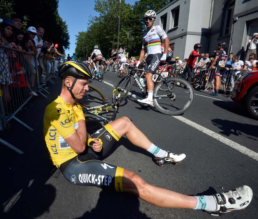Tony Martin moments after the crash that would cost him the lead in the Tour de France. Photo: Graham Watson