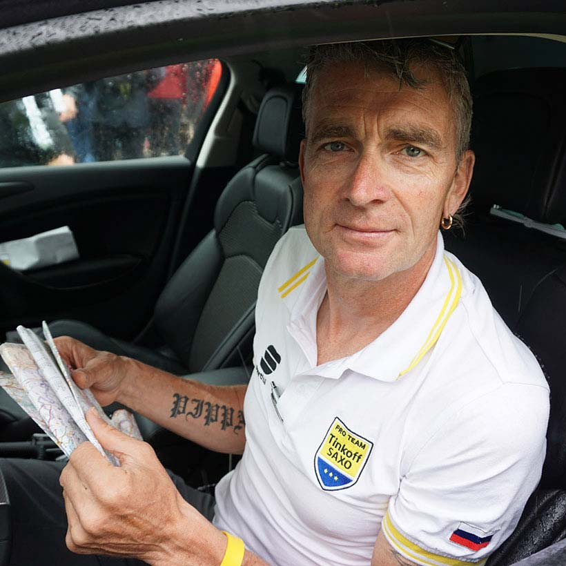 Yates was part of the Sky team in 2012 when it first won the Tour de France. This year he's in the driver's seat of the Tinkoff-Saxo team car. Photo: Rob Arnold