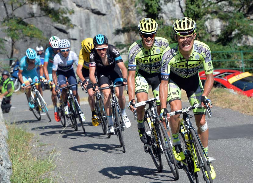 Majka and Contador trying to crack the dominance of The Blue Line in stage 18. Photo: Graham Watons