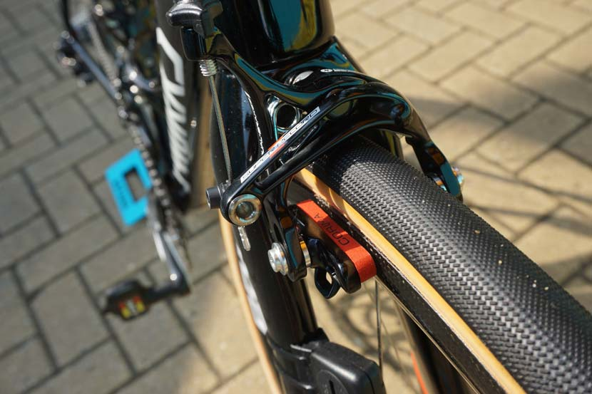 Campagnolo calipers and Corima pads... but that's the Roubaix bike (for stage five) not the Venge ViAS for Fuglsang.  Photo: Rob Arnold